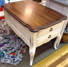 Mary at Sublime D'signe​ finished this gorgeous nightstand with Java Gel Stain and High Performance Topcoat! Try our Antique White Milk Paint for a similar style. Stumped on which top coat to use? We'll help you choose a top coat for interior applications here: http://youtu.be/torOAQy91q4