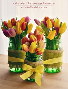 Spring Tulips with Burlap Wrapped Mason Jars for a Spring Centerpiece