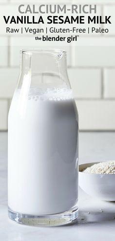 Vanilla Sesame Milk {Raw, Vegan, Paleo-Friendly} - The Blender Girl Nutella Muffins, Nutella Cake, Nutella Recipes, Milk Recipes, Nut Milk Recipe, Milk Plant, Molten Lava Cakes, Chocolate Granola, School Snacks