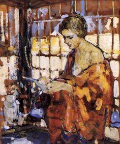 Girl Reading, Richard Edward Miller Oil Painting