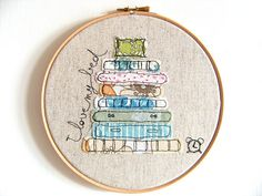 Girl who knits love - embroidery hoop art textile art fiber art - Embroidery illustration girl knitting - hand embroidery contemporary art Freehand Machine Embroidery, Embroidery Shop, Free Motion Embroidery, Embroidery Hoop Art, Free Motion Quilting, Diy Broderie, Sewing Basics, Fabric Art, Machine Quilting