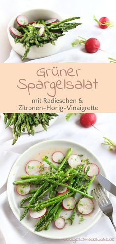 Green asparagus salad with radishes and lemon honey vinaigrette - Today Pin Quick Asparagus Recipe, Asparagus Salad, Radish Recipes, Salad Recipes, Vinaigrette, Low Carb Recipes, Cooking Recipes, Good Food, Yummy Food