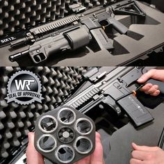 under barrel shotgun attachmentLoading that magazine is a pain! Get your Magazine speedloader today! Survival Weapons, Tactical Survival, Weapons Guns, Guns And Ammo, Tactical Gear, 2 Guns, Rifles, Airsoft, Tactical Shotgun