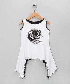 Take a look at this White & Black Rose Sidetail Tunic - Infant, Toddler & Girls by Love Made Love on #zulily today!