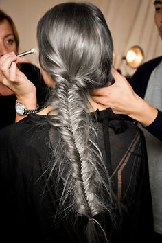 fashion Model makeup Backstage braid colored hair dyed hair braids runway e fishtail braid fashion week catwalk silver hair gray hair grey hair edited hair