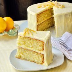 Lemon Velvet Cake - Developed from an outstanding Red Velvet Cake recipe, this lemon cake is a perfectly moist and tender crumbed cake with a lemony buttercream frosting.