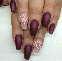 Garnet, deep plum, blush, natural, matte, coffin shaped nails