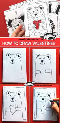 children activities, more than 2000 coloring pages Valentines Day Drawing, Bear Valentines, Valentine Day Crafts, Toddler Drawing, Drawing For Kids, Art For Kids, Kindergarten Art Lessons, Art Lessons Elementary, Art History Projects For Kids