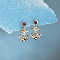 Nautical Anchor Earrings with Swarovski Crystals