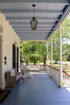 Cool 43 Unique Ceiling Design Ideas In The Your Dream Porch Ceiling Paint Colors, Colored Ceiling, Porches, Haint Blue Porch Ceiling, Creole Cottage, Green Shutters, Porch Paint, Plafond Design, Blue Ceilings