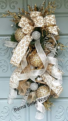silver and gold teardrop swag Gold Christmas Decorations, Christmas Swags, New Years Decorations, Silver Christmas, Holiday Decor, Gold Door, Door Swag, Christmas Time Is Here, Door Wreaths