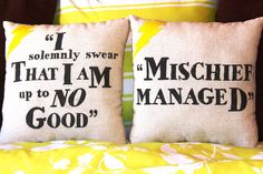 """Harry Potter """"I Solemnly Swear/Mischief Managed"""" Maruader's Map Pillow Set"""