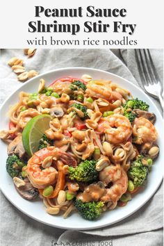 This healthy shrimp noodle dish with veggies and creamy peanut sauce is utterly delicious! Made with brown rice noodles, this is a dairy free and gluten free dinner that's quick and easy to make. Lobster Recipes, Seafood Recipes, Pasta Recipes, Beef Recipes, Healthy Asian Recipes, Fast Healthy Meals, Pork Recipes For Dinner, Delicious Dinner Recipes, Lunch Ideas