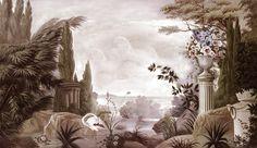 Paysages sépia - Le jardin de Portobello sépia 450x260 - ultra mat - 5 lés de 90cm