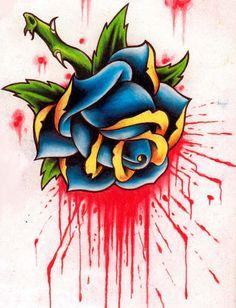 """Bleeding Rose Tattoo Design"" by ~ravenkiokoshietu - Designs & Interfaces / Tattoo Design"