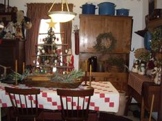 Primitive Country Christmas Decorating Ideas | Country Christmas, This is my dining space all dressed up for ...