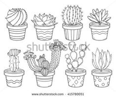 stock-vector-cactus-and-succulent-contour-collection-set-of-doodle-flowers-in-pots-isolated-on-white-background-415780051.jpg 450×380 pixels