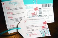 aqua orange boarding pass ticket and rsvp luggage tag destination beach wedding invitation with palm trees and airplane graphics