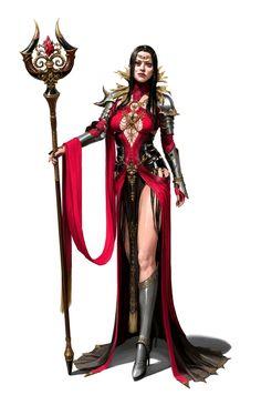 Female Evil Sorcerer with Staff - Pathfinder PFRPG DND D&D d20 fantasy