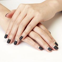 You'll need gold polish, black polish, matte top coat and gold glitter polish to create this party-ready manicure.