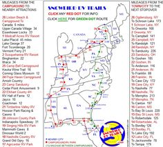 2 good RV Routes to/from Canada & the Northeast to FL and the Gulf Coast. For the RED DOT map Trip Sheet click: http://www.snowbirdrvtrails.com/reddot.htm For the GREEN DOT map Trip Sheet click: http://www.snowbirdrvtrails.com/greendot.htm