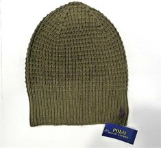 89ef98b37fbe6 NWT POLO RALPH LAUREN LOGO Winter Beanie Olive  fashion  clothing  shoes   accessories