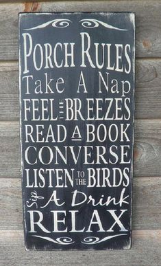Porch Rules wood sign Patio Rules sign outside decor distressed sign primitive decor wall hanging shabby chic Porch Rules Sign, Porch Signs, Patio Signs, Backyard Signs, Mini Piscina, Enclosed Porches, Enclosed Porch Decorating, Screened Porches, Screen Porch Decorating