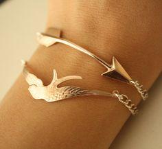 ROSE Gold Arrow and Rose GOLD Bird BRACELETS. $60.00, via Etsy.
