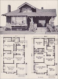 1922 Craftsman-style Bunglow House Plan - No. L-114 - E. W. Stillwell & Co.