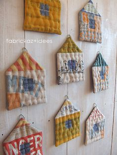 Vintage feedsack houses