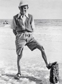 1951. self- Ted Motler. on the beach in Prestatyn North Wales. UK.