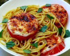 Basil Spaghetti with Cheese Broiled Tomatoes - http://www.cheesecutterscorner.com/basil-spaghetti-with-cheese-broiled-tomatoes/