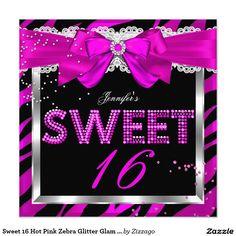 Sweet 16 Hot Pink Zebra Glitter Glam Birthday 5.25x5.25 Square Paper Invitation Card