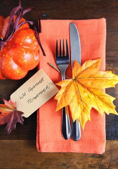 """We Gather Together"" placecards. Get excited for the holidays with these beautiful and creative Thanksgiving table decorating ideas."