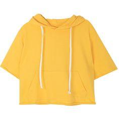 Rolled Edge Hoodie ($14) ❤ liked on Polyvore featuring tops, hoodies, summer hoodie, yellow hoodie, sweatshirt hoodies, short hoodie and short sleeve tops