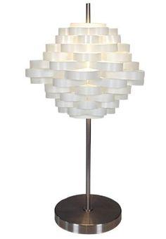 Naeve Leuchten 3025823 Lampe de table décorative en métal et plastique livrée sans ampoule Interrupteur sur cordon Blanc 61 x 35 cm