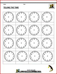 Telling the Time Blank Clock Template