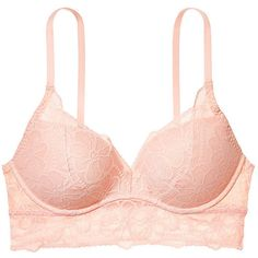 Tropical Lace Push-Up Bralette PINK ($20) ❤ liked on Polyvore featuring bra, tops and underwear