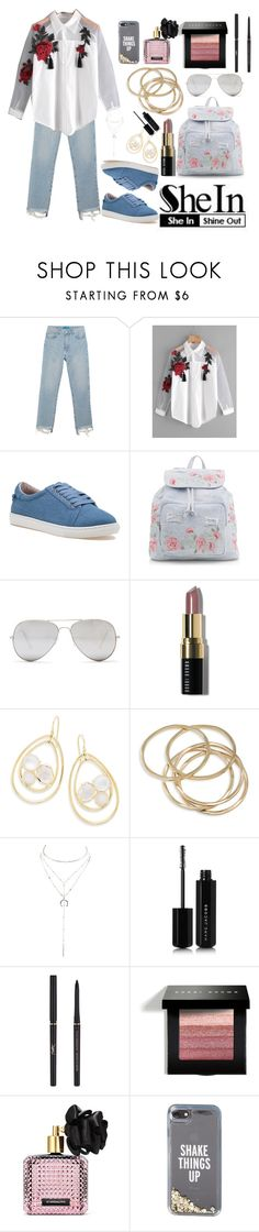"""""""The theme is: Appliques Tassel Detail Shirt"""" by basmahahmed ❤ liked on Polyvore featuring M.i.h Jeans, J/Slides, New Look, Sunny Rebel, Bobbi Brown Cosmetics, Ippolita, ABS by Allen Schwartz, Charlotte Russe, Marc Jacobs and Yves Saint Laurent"""