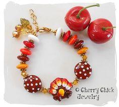 fall beaded bracelets | ... , Fall Lampwork Beaded Bracelet | CherryChick - Jewelry on ArtFire