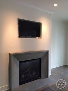 Blackstone concrete fireplace surround from CustomCreteWerks.