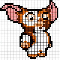 Zz Fuse Bead Patterns, Perler Patterns, Beading Patterns, Gremlins, Perler Beads, Perler Bead Art, Beaded Cross Stitch, Cross Stitch Embroidery, Cross Stitch Patterns