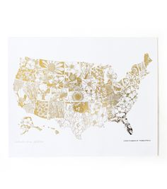 "gilded USA map -- ""where flowers bloom so does hope"""
