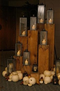 Beautiful outdoor lighting, though I'd add some orange and brown pumpkins.