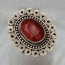 Sterling silver Ring with 5.49 ct Genuine Oval Faceted Ruby