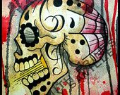 tattoo print sugar skull