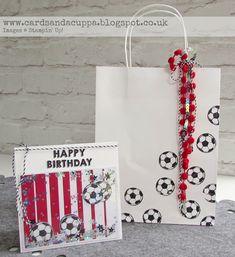 Sarah-Jane Rae cardsandacuppa: Stampin' Up! UK Order Online 24/7: Football Shaker Card in Southampton/Saints colours using Stampin' Up! Products :-)