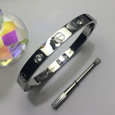 18k White Gold Love Bangle Brand new. Size-19. Will not tarnish. Come's with Screwdriver. Ready to ship! Jewelry Bracelets
