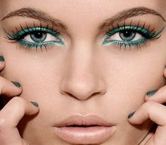 Turquoise eye makeup ~ I don't care what they say, I LOVE blue eyeliner!