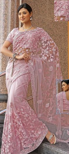 Rose Pink Net Saree 16125 With Unstitched Blouse Trendy Sarees, Stylish Sarees, India Fashion, Ethnic Fashion, Indian Dresses, Indian Outfits, Moda India, Hanfu, Beauty